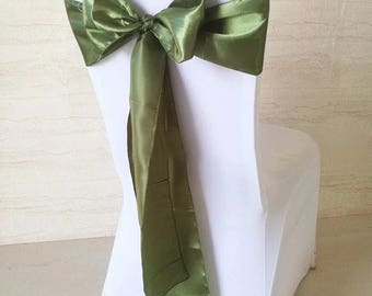 50x Olive Green Satin Chair Sashes for Church Wedding Engagement Event Reception Ceremony Function Bouquet Christening Baptism