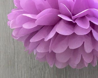 6x Orchid Tissue Paper Pom Poms Girl's 1st Birthday Party Fairy Party Wedding Bridal Shower Baby Shower Photography Decorations