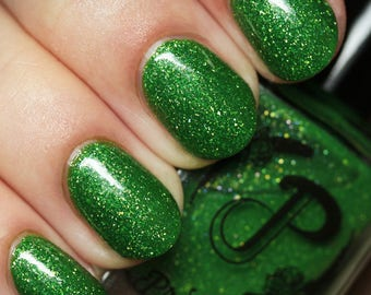 Green Jelly Nail Polish, Holographic Flakie Polish, Shimmer Polish, Indie Nail Lacquer, Custom Nail Color, Gift for Her, Vegan, VICTORIA