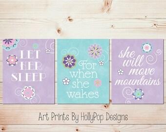 Baby Girl Nursery Wall Decor Girl Nursery Art Prints Let Her Sleep Quote Purple Aqua Wall Art Toddler Girl Bedroom Decor Baby Decor #1308