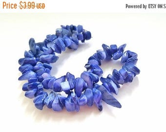 50% OFF 15 Inch Strand of Multishaped, Multisized Blue Shell Beads. Very Pretty and Colorful!!   Over 90 Shell Beads.  Fun and Funky Beads!!