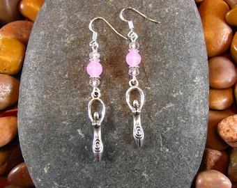Pink Jade Goddess Earrings - Goddess Earrings, Goddess Jewelry, Goddess, Feminine Earrings, Feminine Jewelry, Pagan Earrings, Pagan Jewelry