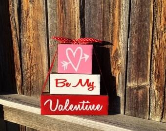 Valentine's Day wood blocks, Be my Valentine blocks, Valentine blocks, hearts