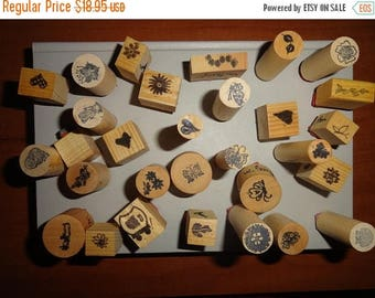 50% OFF Lot of 30 mixed shapes vintage 1980s wood mounted stamps