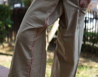 FZ0071 Hand Sewing Inseam design for Thai Fisherman Pants Wide Leg pants, Wrap pants, Unisex pants, Thai Fisherman Pants, Cotton