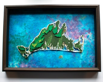 16x24 Martha's Vineyard Paper Topography Map