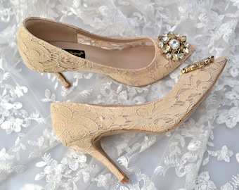 Swarovski crystal Vintage Court French Nude Gold Champagne Ivory Guipure Lace & crystal bridal mid heel shoe