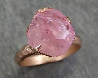 Partially Faceted Pink Topaz 14k rose Gold Ring One Of a Kind Gemstone Ring Recycled gold byAngeline 0615