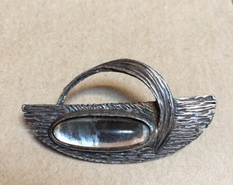 Vintage Silver Tone Oval Stone Pin