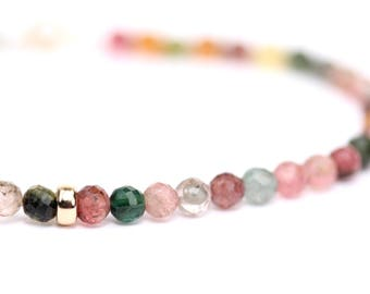 Tourmaline bracelet - watermelon tourmaline - rainbow bracelet - faceted tourmaline bracelet
