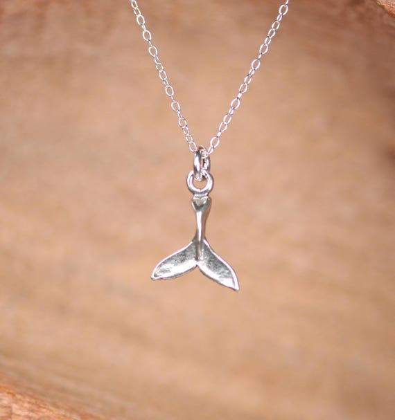 Silver whale tail necklace - summer necklace - whale tail