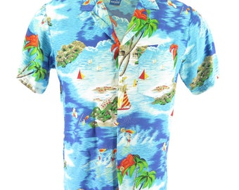 Vintage 80s Ocean Pacific Hawaiian Shirt Mens S Island Beach Surfing OP Relax [H97J_0-6]