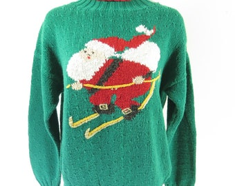 Vintage Ugly Skiing Santa Christmas Turtleneck Sweater L Wipe Out Cotton [I19M_1-8]
