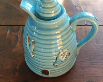 Honey Pitcher Vintage USA Blue