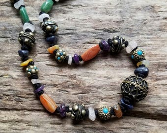 Hand Knotted gemstone necklace - bohemian necklace - chunky gypsy necklace - amethyst and agate - brass necklace