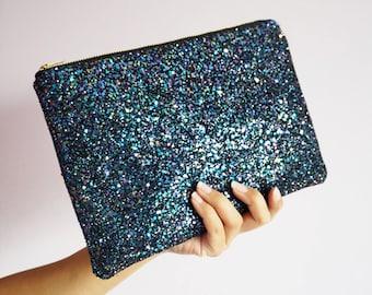 Multicoloured Black Glitter Clutch Bag, Sparkly Black Clutch Bag, Rainstorm Glitter Evening Bag, Multicoloured Party Clutch, Glitter Bag,