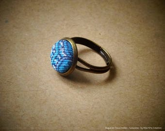 Ring adjustable Retro Indian fabrics, blue & turquoise