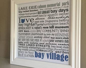 BAY VILLAGE ohio framed word art print  - personalize for the perfect gift!