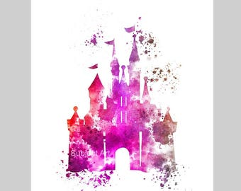Cinderella Castle ART PRINT illustration, Disney, Princess, Wall Art, Home Decor, Nursery, Gift, Pink