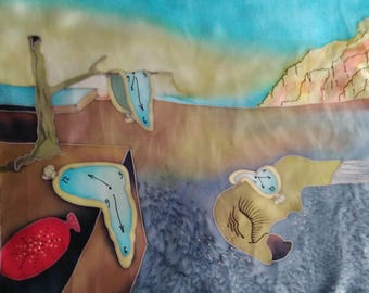 "Hand painted Silk scarf "" Rose & Watch Salvador Dali"" atlas"