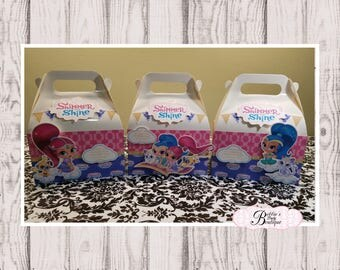 Shimmer and Shine party favor box, 10 Shimmer and Shine party boxes.