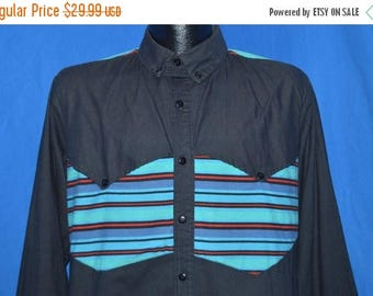 ON SALE 90s Western Cowboy Striped Yolk Button Down Shirt Medium