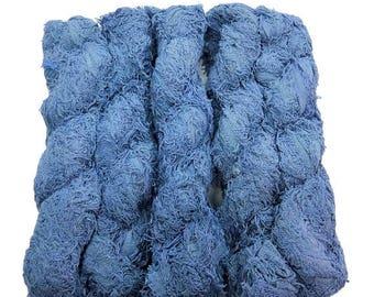SALE New! Fuzzy Cotton Fringe Yarn, Washed Denim