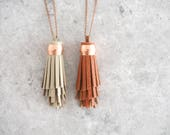 Boho Tassel Necklace, Luxe Jewelry for Women, Spiral Design, Copper and Leather Necklace, Bohemian Leather Pendant, Bridesmaid Gift