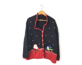 Christmas sweater ugly Christmas sweater 58 in chest. xxl tacky  xl extra large, plus size, vintage Christmas, men's women's