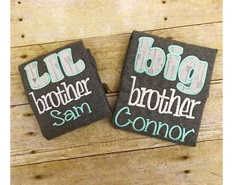 Matching brothers shirt and gown set. Big and little brother set. Personalized brothers shirt set.