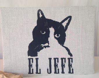 El Jefe (The Boss): Original Mushpa + Mensa Design Hand Printed on Upcycled Fabric Mounted on Cardboard