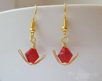 the legend of zelda gorons ruby earrings, zelda ear dangles, nintendo jewelry, gaming jewelry, zelda ocarina of time earrings