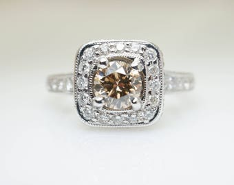 1.43CTW Natural Champagne Cognac Diamond Halo Engagement Ring in 18k White Gold Light Brown Diamond Engagement Ring