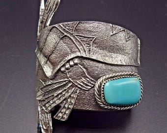 NAVAJO TUFA Cast Sterling Silver and TURQUOISE Cuff Bracelet Butterfly Kachina