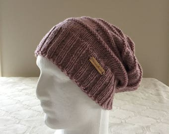 Pink wool women slouchy handmade knitted beanie, pink knit beanie, women knit hat, slouchy knitted beanie.