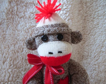 Sock Monkey Toy Doll Stuffed Animal - Traditional - Rockford Red Heel Socks 16""