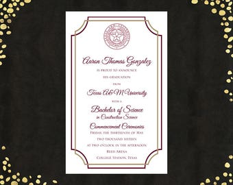 College Graduation Invitations Etsy
