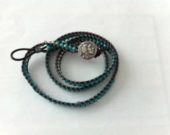American Indian style with turquoise and silver beads bracelet