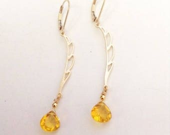 "Yellow Quartz earrings ~ Gold Vermeil earrings, golden Quartz earrings, gift for her - yellow jewelry, golden jewelry - ""Sunny Drops"""