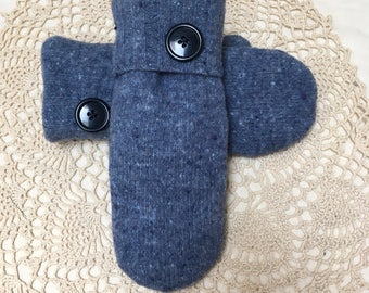Blue wool mittens-Upcycled-recycled warm blue tweed felted wool mittens-made from sweaters