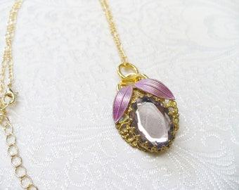 OOAK Vintage Lavender/Purple Glass Repurposed Earring Pendant Necklace - gold tone metal - adjustable - shades of purple - vintage upcycled