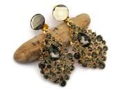 Black diamond Crystal Earrings, Champagne Brown Drop Earring, Wedding , Chandelier earrings, Clip on earrings, Wedding jewelry, Holiday gift