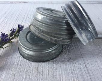 4 aged Vintage Ball Mason Zinc jar lids, canning jar lids with porcelain insides, zinc canning jar lids, craft lids for Ball jars,