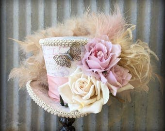 Mini Top Hat, Butterfly Flower Mini Top Hat, Mad Hatter Hat, Steampunk Mini Top hat, Tea Party Hat, Fascinator, Blush and Beige hat