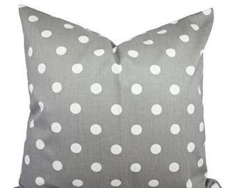 15% OFF SALE Two Decorative Throw Pillow Covers - Grey and White Polka Dot Print - Grey Cushion Cover Accent Pillow - Grey Pillow Covers