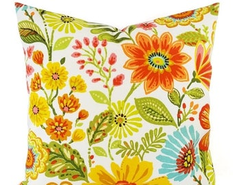 15% OFF SALE Two OUTDOOR Pillow Covers - Yellow Pillow Cover - Floral Pillow - Floral Throw Pillow - Decorative Pillow - Patio Pillow - Lumb