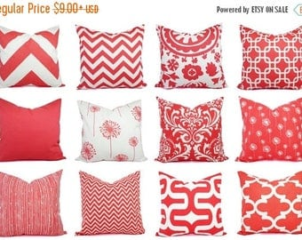 15% OFF SALE Coral Pillow Cover - Coral Throw Pillow - Decorative Pillows - Coral Accent Pillow - Coral Pillows - Coral Lumbar Pillow - Cora