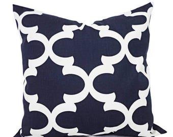 15% OFF SALE Decorative Pillow Covers - Two Navy Quatrefoil Covers - Blue Pillows - Moroccan Tile Pillow - Trellis Pillow Cover - Navy Pillo