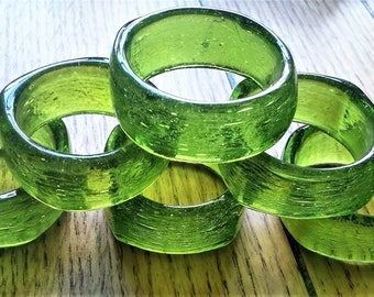 Vintage retro Lime Green napkin rings napkin holder Set of 6 Table Decor Kitchen Glass Hand Blown ~ Free shipping