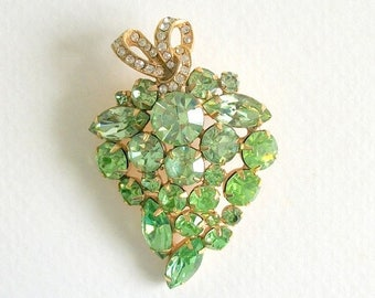 ON SALE Vintage Brooch Vintage Weiss Brooch Rhinestone Brooch Antique Pin Light Green and Gold Toned Signed Vintage Jewelry